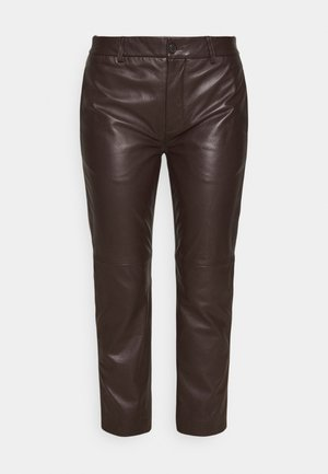 AGRAZIA ANKLE FLAT FRONT - Leather trousers - chocolate