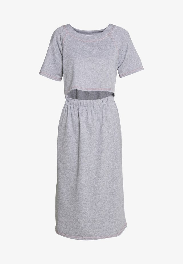 CONSTRAST STITCH MIDI DRESS - Vardagsklänning - grey