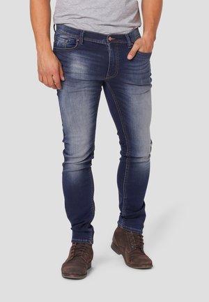 Jeansy Straight Leg - blue bleach wash