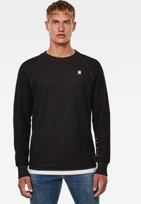 G-Star - JIRGI TAPE DETAIL ROUND LONG SLEEVE - Felpa - dk black/raven - 0