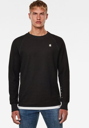 JIRGI TAPE DETAIL ROUND LONG SLEEVE - Sweatshirt - dk black/raven