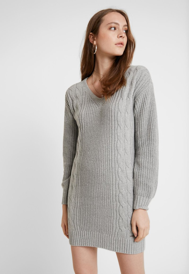 Hollister Co. - BACK DRESS - Abito in maglia - grey