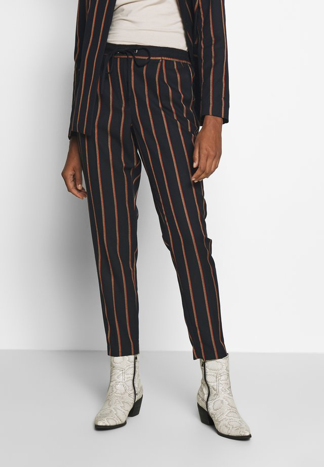 PINSTRIPE PANTS - Trousers - navy/beige/orange