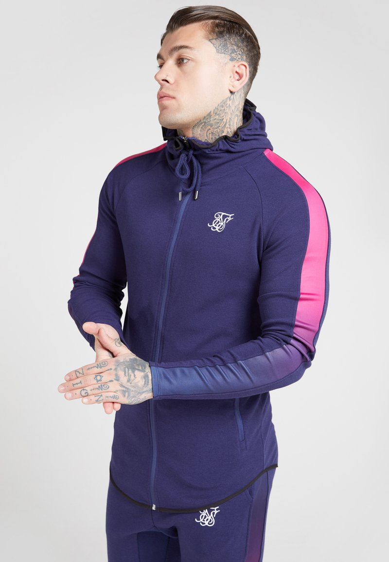 SIKSILK - FADE PANEL ZIP THROUGH HOODIE - veste en sweat zippée - navy / neon fade
