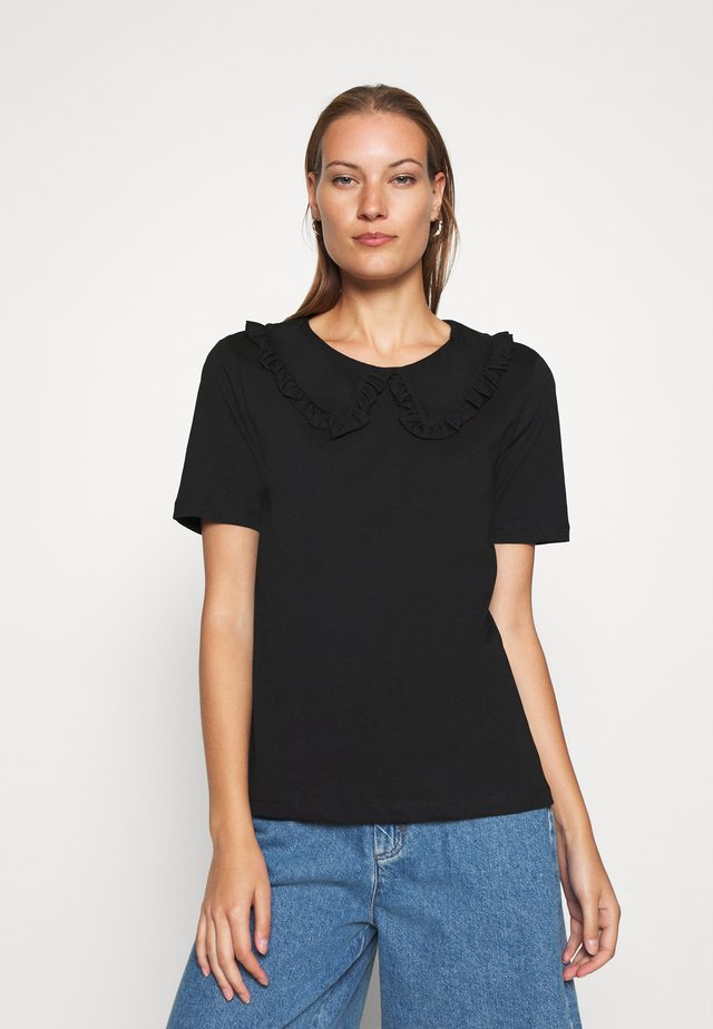 ALVA COLLAR TEE - Blouse - black