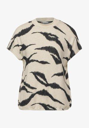 MIT STEHKRAGEN - Print T-shirt - beige