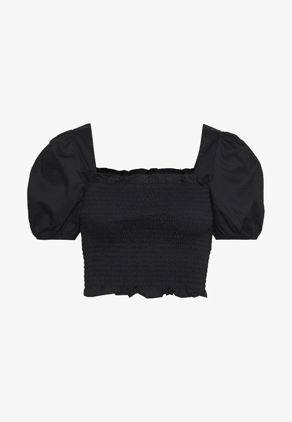 Glamorous PUFF SLEEVE RUCHED CROP - Bluzka - black/czarny ZYWG
