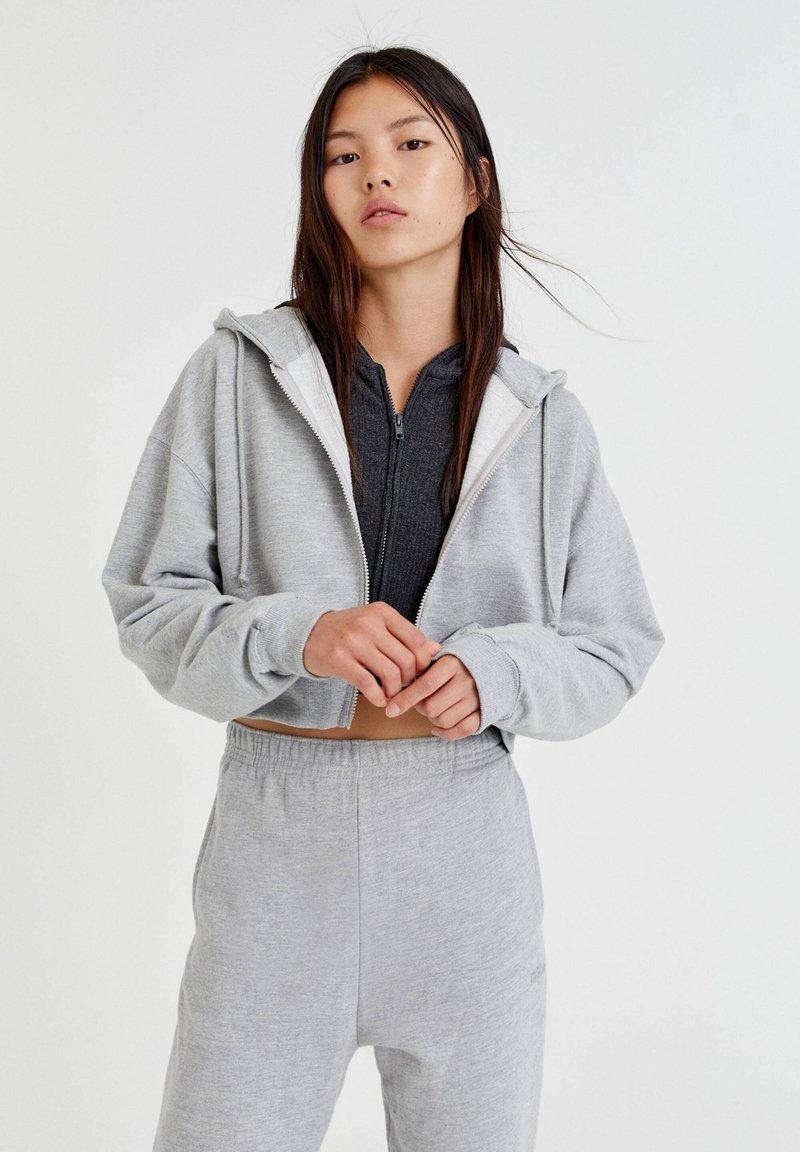 PULL&BEAR - BASIC - Zip-up sweatshirt - mottled grey