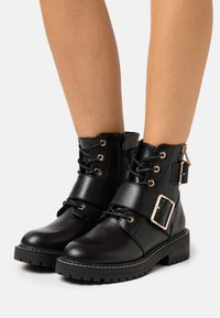 New Look - BUSY LACE UP CHUNKY - Cowboystøvletter - black - 0