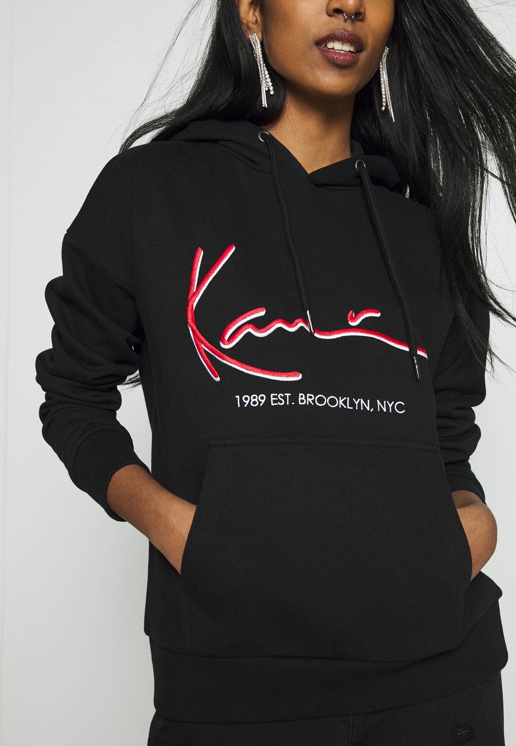 Buy Newest Women's Clothing Karl Kani SIGNATURE HOODIE Hoodie black/red 1jWbxcMF4