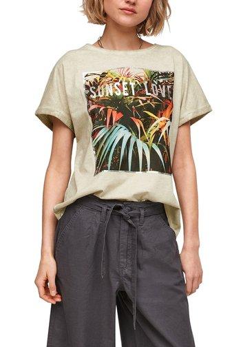 Print T-shirt - beige placed print