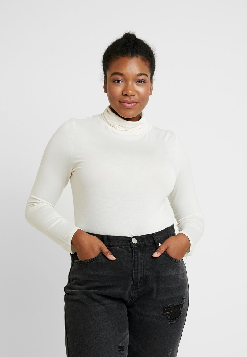New Look Curves - SIDE SPLIT ROLL NECK - Long sleeved top - off white