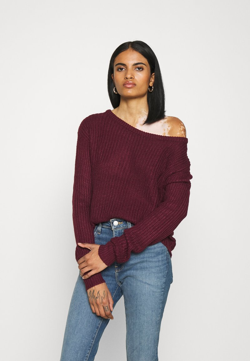 Missguided - OPHELITA OFF SHOULDER JUMPER - Pullover - burgundy
