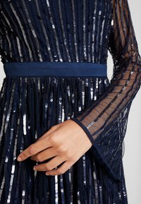 Maya Deluxe - SQUARE NECK STRIPE EMBELLISHED MAXI DRESS WITH FLUTED SLEEVES - Occasion wear - navy - 6