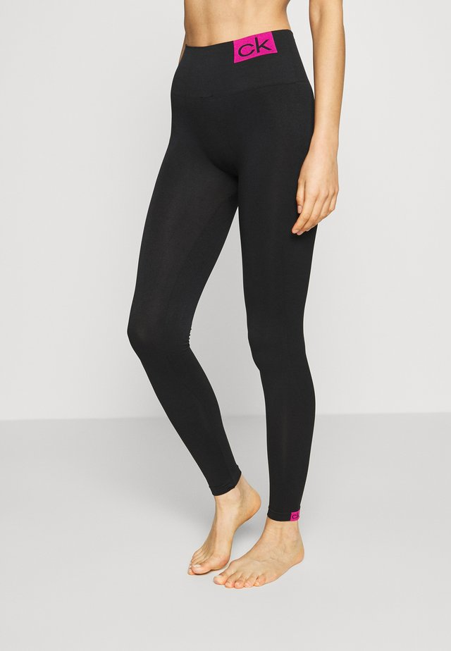 WOMEN LOGO MASON - Leggingsit - black/pink