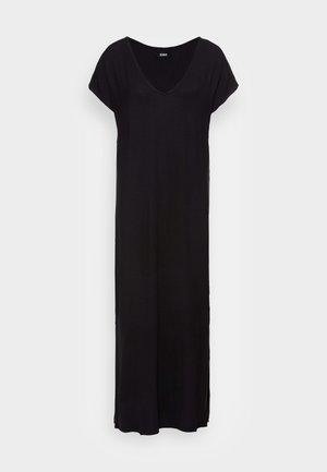 SHORT SLEEVES V NECK BASIC DRESS WITH SLIT - Vestito lungo - black