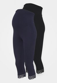 Anna Field MAMA - 2 PACK - Leggingsit - black/dark blue - 0