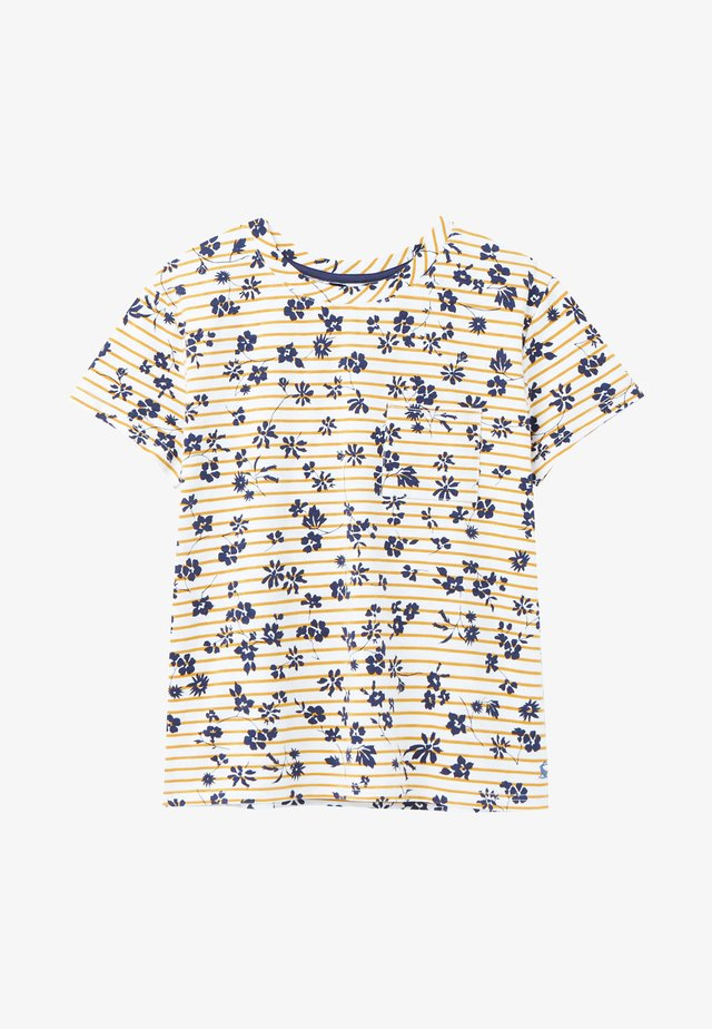 T-shirt print - cremefarben gold floral streifen