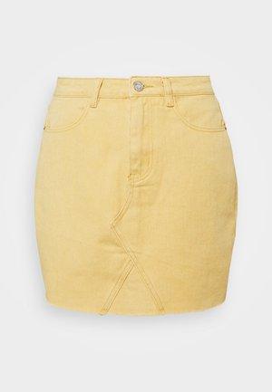 RAW EDGE SKIRT - Mini skirt - yellow