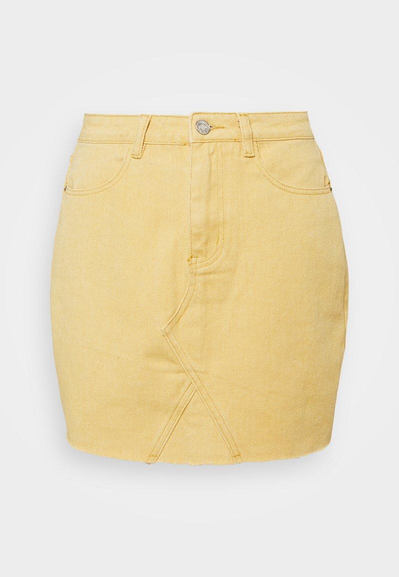 Missguided Petite - RAW EDGE SKIRT - Mini skirt - yellow