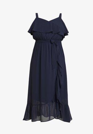 PLAIN RUFFLE WRAP DRESS - Maxi šaty - navy