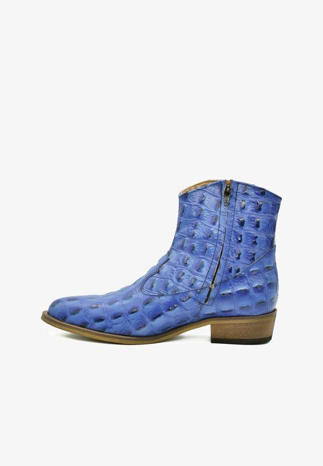 Cowboy-/Bikerlaarsjes - baby blue croco