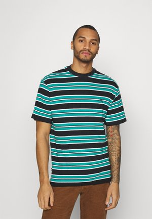 UNISEX LOOSE STRIPED TEE - Print T-shirt - black/pool blue/white