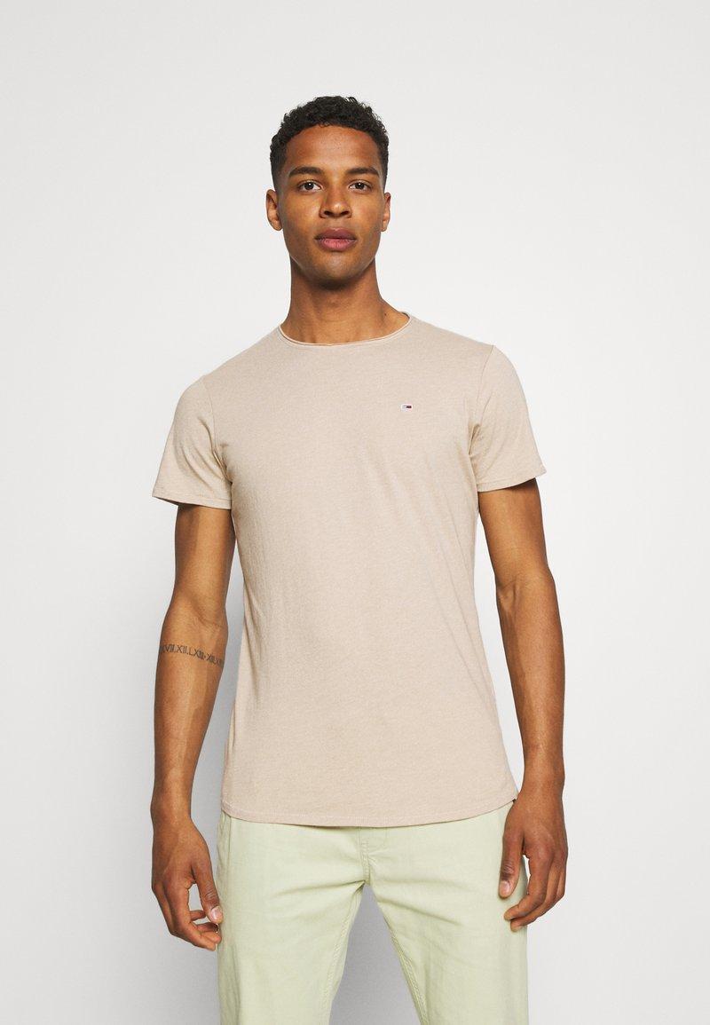 Tommy Jeans - SLIM JASPE C NECK - Basic T-shirt - smooth stone heather