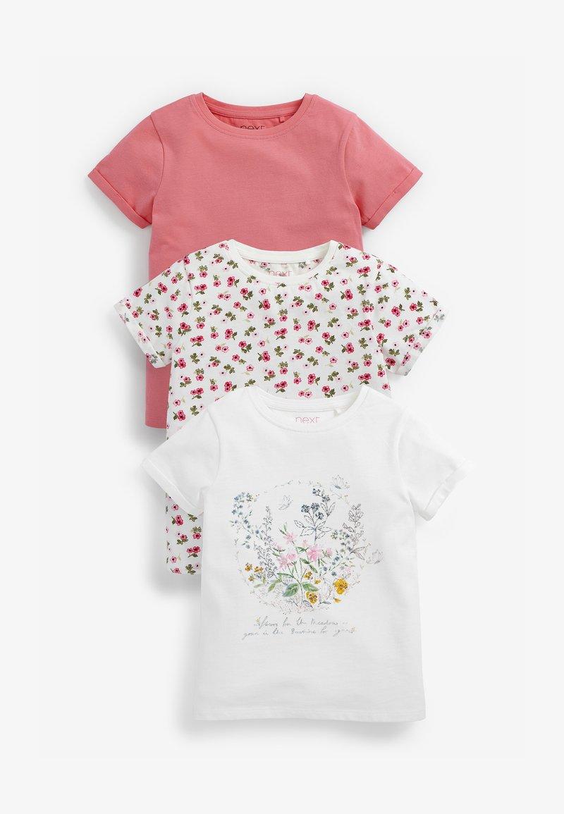 Next - 3 PACK  - Print T-shirt - pink