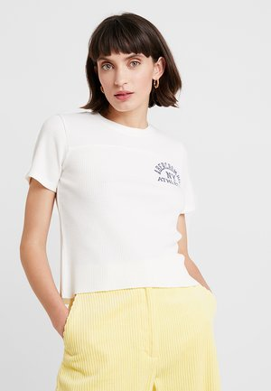 SHORT SLEEVE WAFFLE LOGO TEE - T-shirts med print - cream