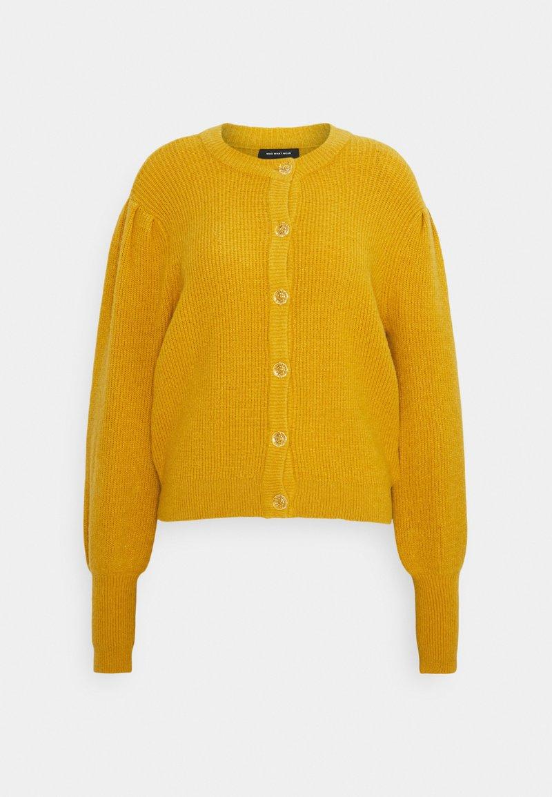 Who What Wear - MOCK NECK CARDIGAN - Kardigan - mustard
