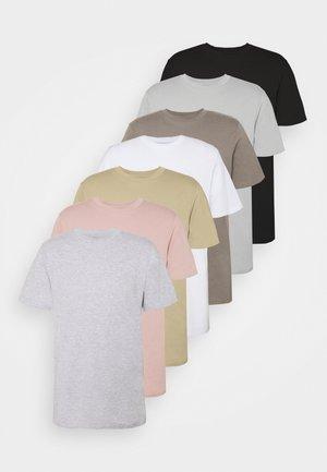 ESSENTIAL CREW 7PACK - Basic T-shirt - black white stone blue pink grey marle