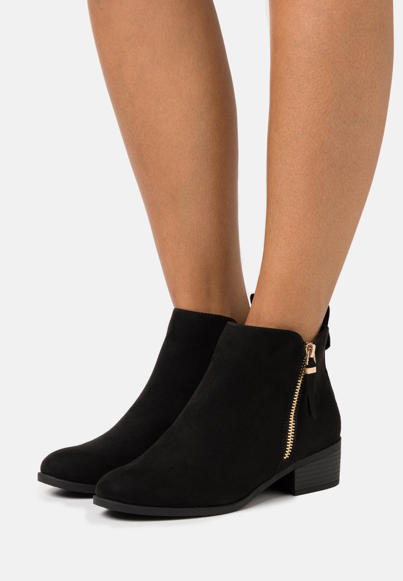 Dorothy Perkins Wide Fit - WIDE FIT MACRO SIDE ZIP BOOT - Kotníková obuv - black
