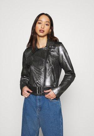 VIMALLIES BIKER JACKET - Faux leather jacket - black/gun metal