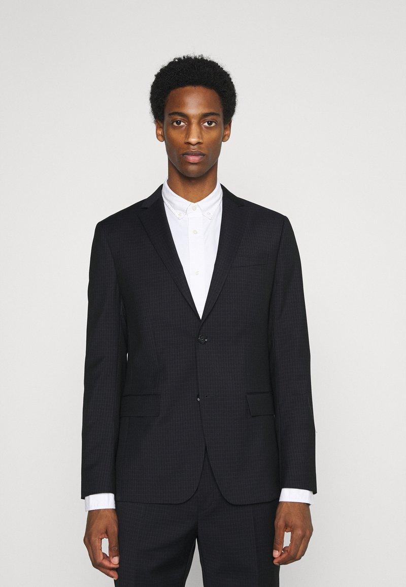 Calvin Klein Tailored - TONAL GRID CHECK EXTRAFINE SUIT - Oblek - navy