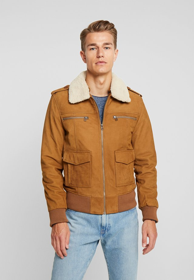 ANDI - Leather jacket - dark camel