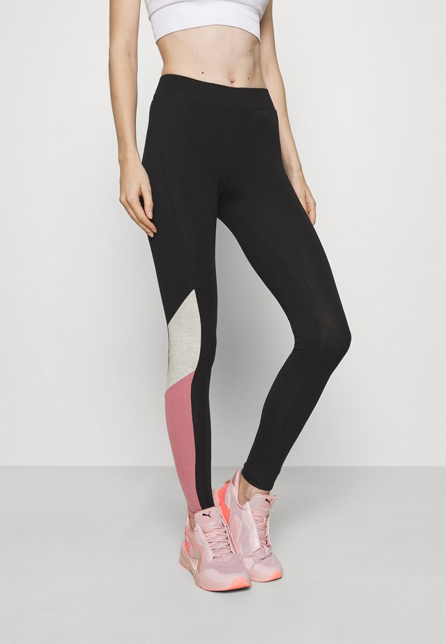 ONPOLLI LIFE LEGGINGS - Collants - black/mesa rose/white melange