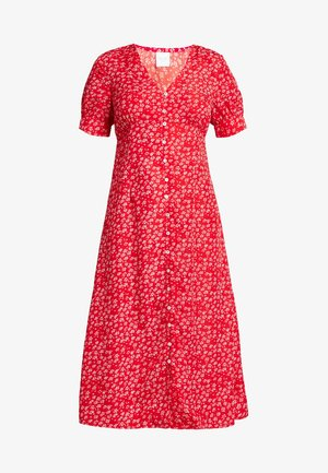 VILLUMA FLOWER BUTTON DRESS - Abito a camicia - racing red