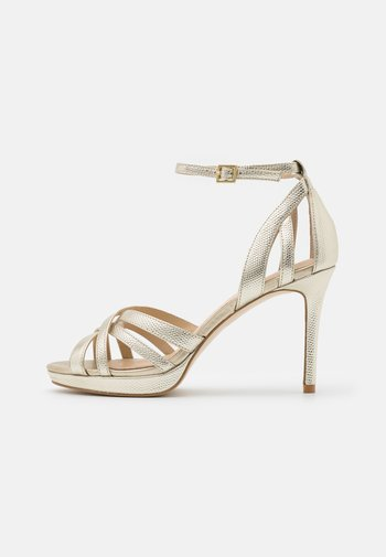 LEATHER - High heeled sandals - gold