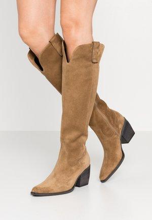 LUNA - Cowboy/Biker boots - wood