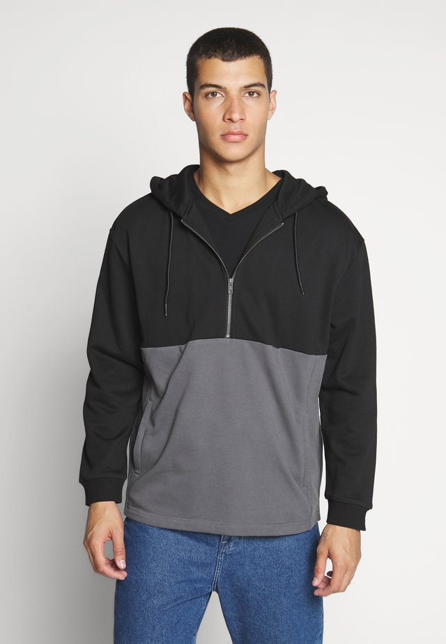 RELAXED HALF ZIP HOODIE - Felpa con cappuccio - black/darkshadow