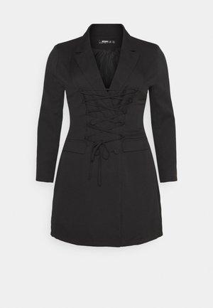 LACE UP FRONT BLAZER DRESS - Denní šaty - black