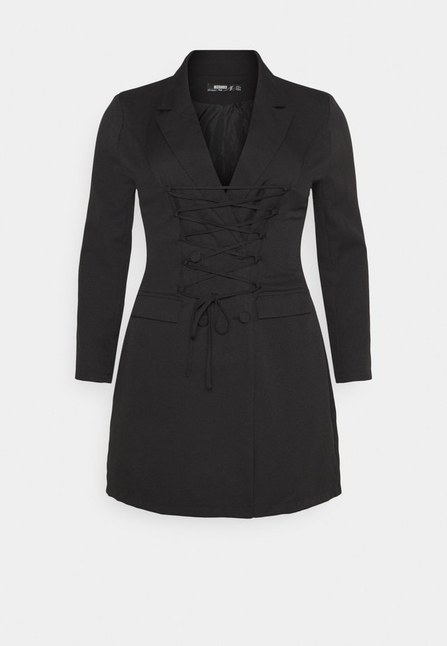 LACE UP FRONT BLAZER DRESS - Korte jurk - black