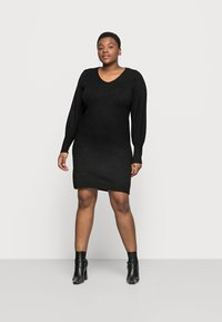 Pieces Curve - PCPAM V-NECK DRESS - Jumper - black - 1