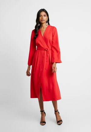 PLEATED SLEEVE WRAP DRESS WITH FRONT TIE - Day dress - red
