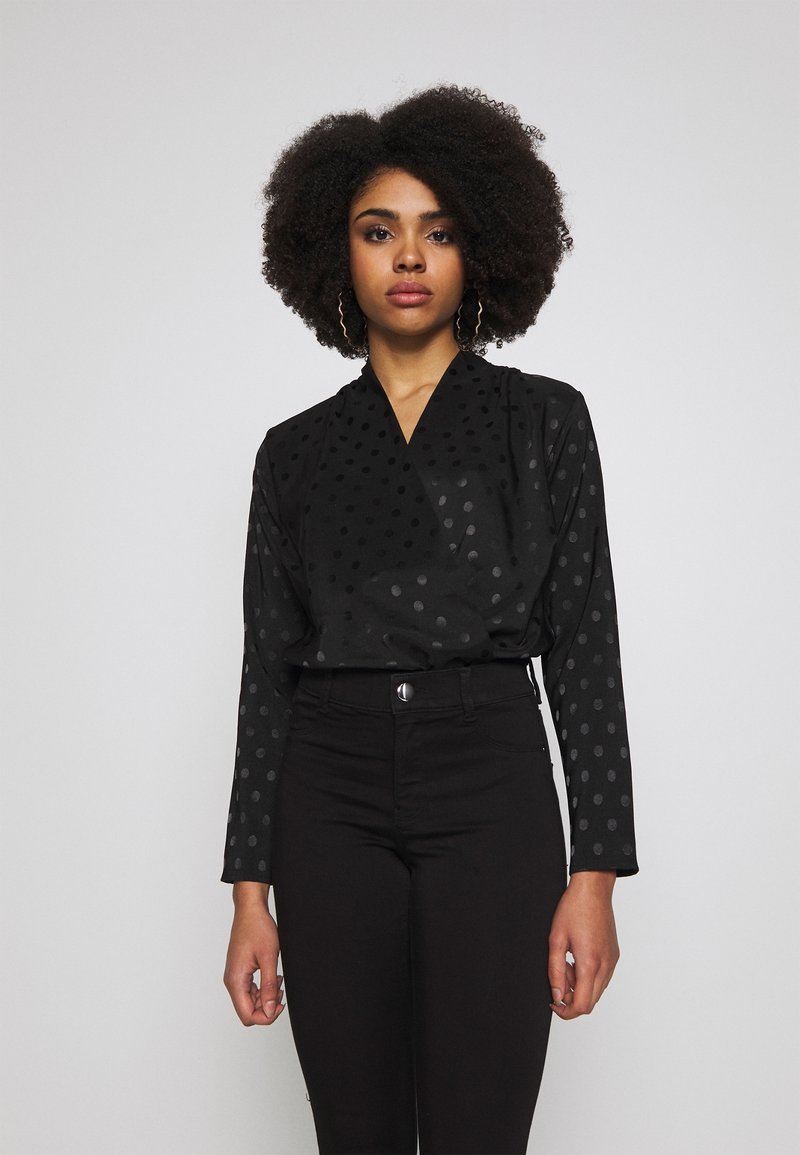 New Look Petite - SPOT SATIN WRAP - Blouse - black