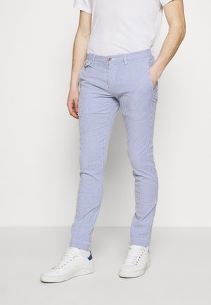 SLIM FIT BEDFORD PANT - Chino - blue/white