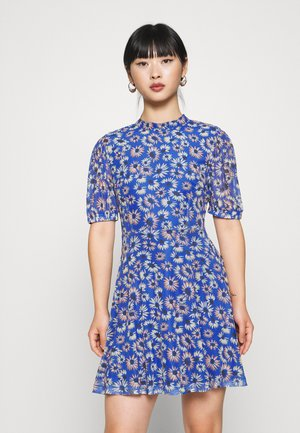 EXCLUSIVE PRINTED PUFF SLEEVE - Vestido informal - blue
