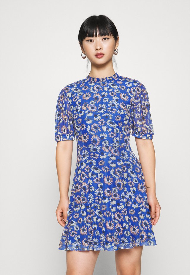 EXCLUSIVE PRINTED PUFF SLEEVE - Korte jurk - blue