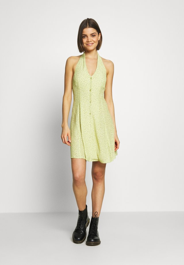 HALTER MINI TULIPS DRESS - Vestito estivo - citron